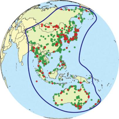 图中绿点表示重要迁徙水鸟区,红点表示EAAF网络点  © EAAFP
